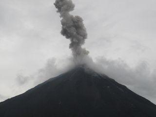 Volcano erupts